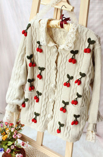 Sen female retro vintage crochet cherries fall and winter thick sweater coat loose long sleeved cardigan