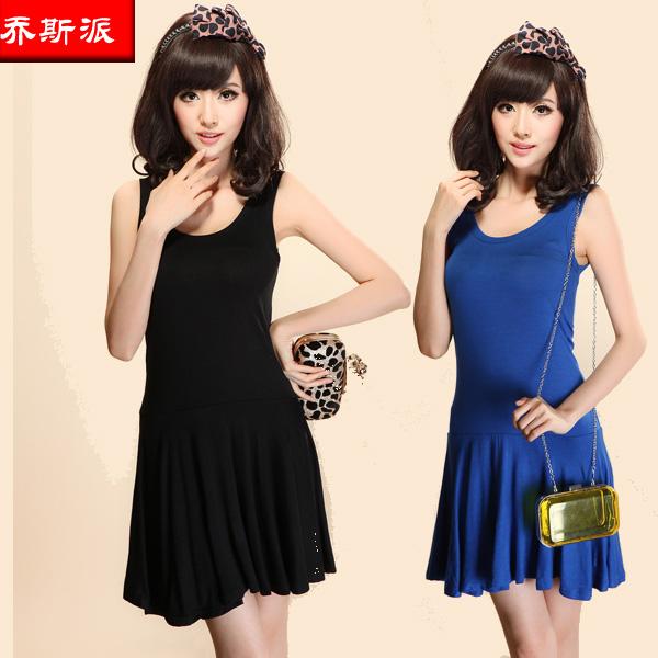 Электронной почте Корейский двойной u летом тонкий плечо летом рукавов дамы Сарафан в конце конфеты цветные ремень платье