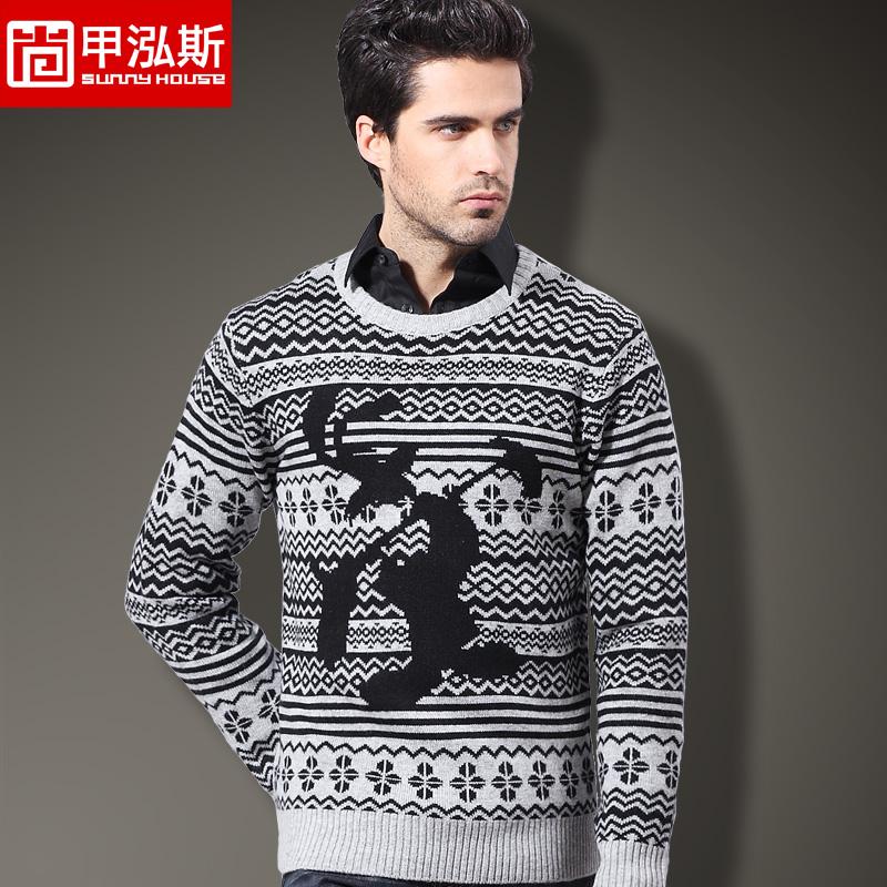 尚甲泓斯 新品男士圓領針織毛衣 羊毛針織衫男式羊毛衫套頭衫