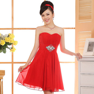 2015 new autumn and winter red bride wedding toast served Bra short paragraph Slim wedding dinner dress
