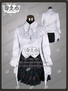 Heart Y-0066 printing of cos clothes COSPLAY edge of the air spring wild dome thick satin skirt dress