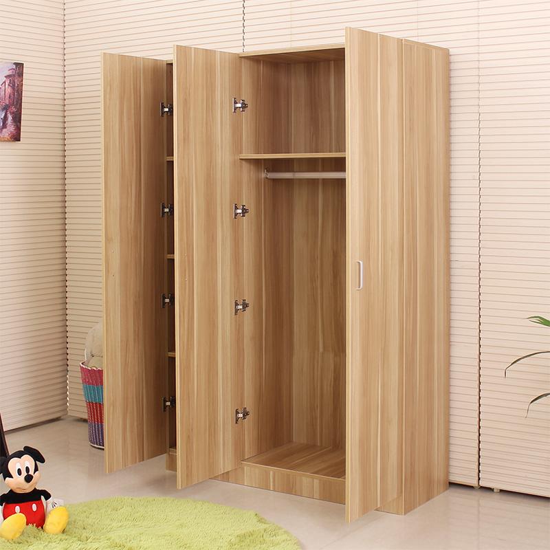 宜家板式简易整体衣柜简约现代实木质组合组装三门四门大衣柜衣橱