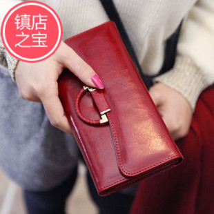 Right-meter high-end leather money temperament Korean oil wax leather long section of female Shi Duoka bit holding money wallet