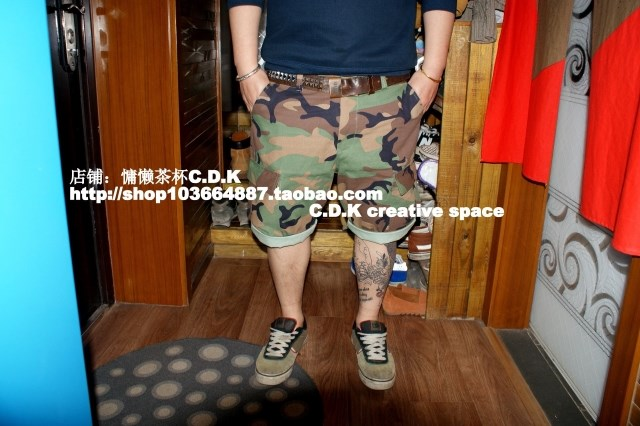 UN camouflage shorts European and American street skateboarding mens tooling shorts trendy large casual Capris