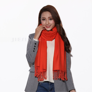 100 Tencel long oversized high grade velvet shawl solid orange orange fringed scarves female