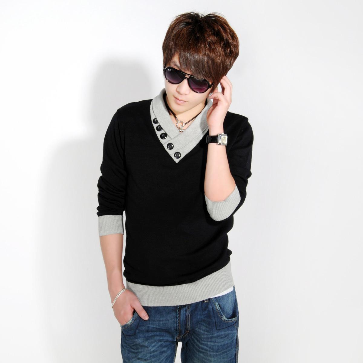 Осень/зима 2014 с новой тенденции корейской версии свитер мужской хлопок тонкий свитер мужской свитер в конце одежды