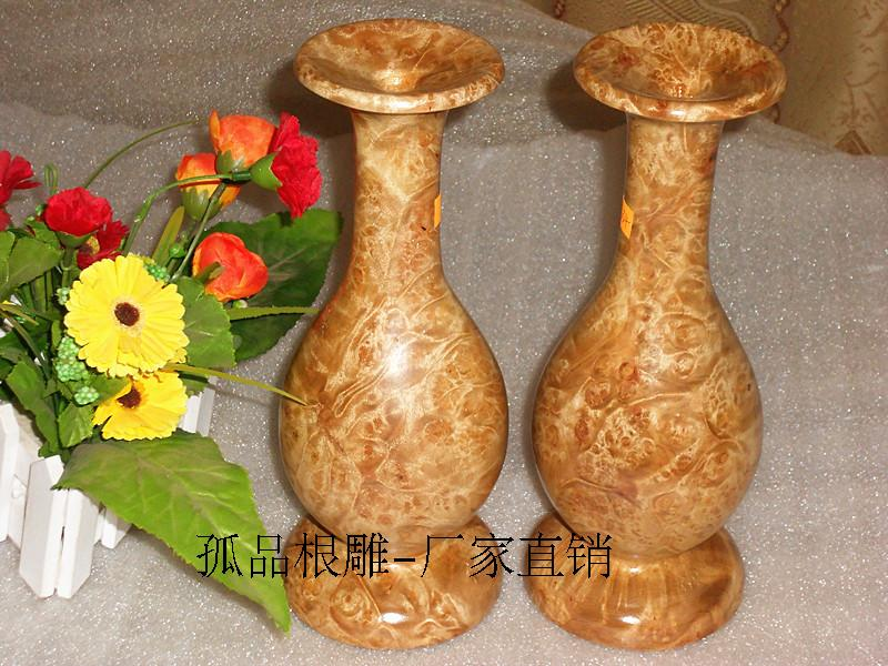 难得精品~满花黄金樟木雕花瓶摆件\全实木整料精品木雕工艺品摆件