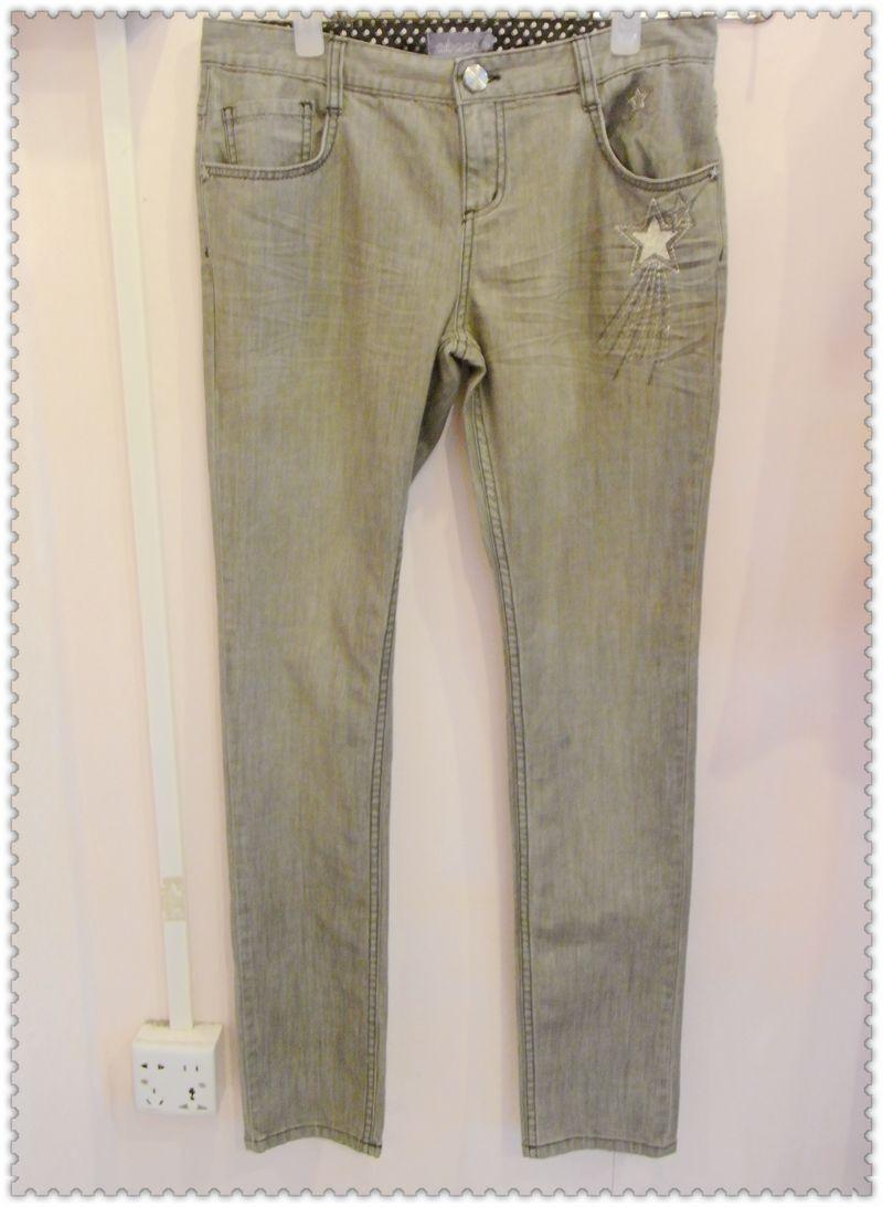 特价清仓ebase衣本色牛仔裤夏秋新款女装灰色刺绣图案直筒牛仔裤