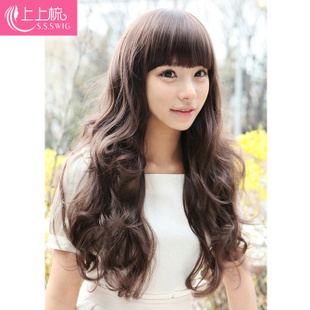 On the comb wig Korea Liu Qi wig long volume fluffy cute girls repair face long hair wig
