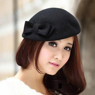 Elegant intellectuality vintage pure woolen bow beret hat hat female flight attendant new wave of fall and winter