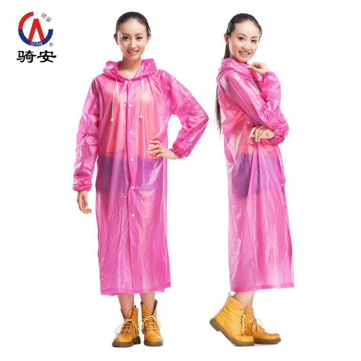 骑安 男士骑行摩托电动车雨衣女 透明时尚有袖雨披 便携方便 包邮