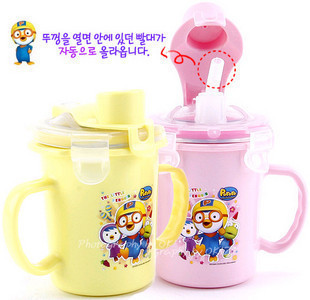 Wholesale Korea pororo small penguin stainless steel double handle suction cups removable 2 color