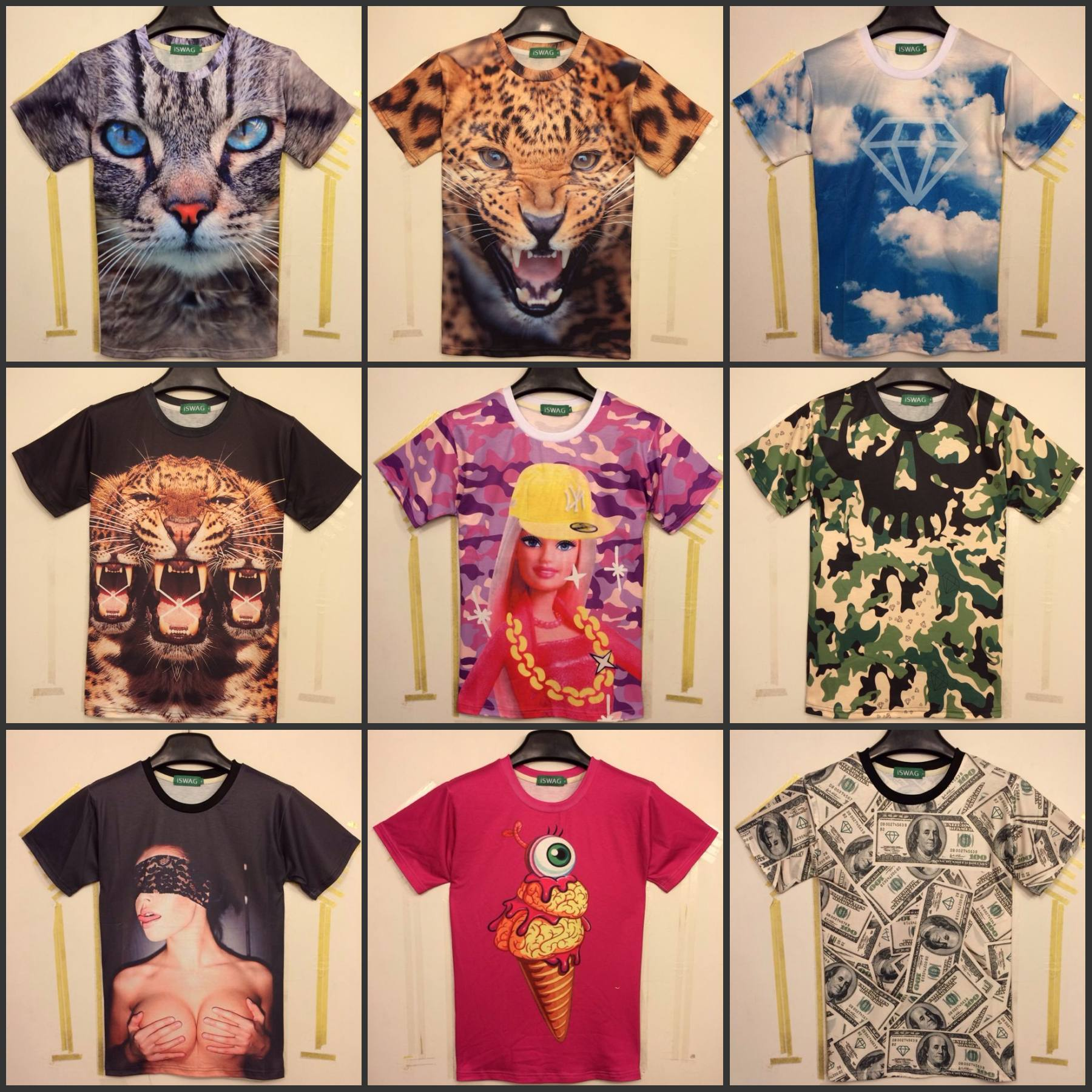 2014 Европе Польша улица моды iswag 3D кошка пантера большая волна $ Барби любителей короткий рукав футболки для мужчин и женщин