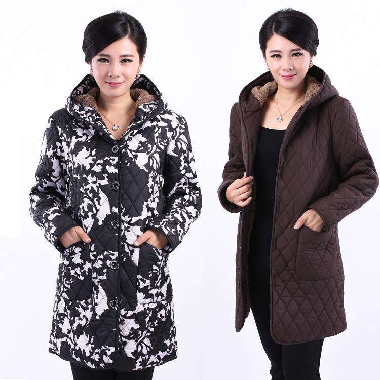 Мать в средней и старые возрасте женщин одежда длинное пальто костюм с удобрений возросла и Хлопок одежда пожилой дамы зимнее пальто