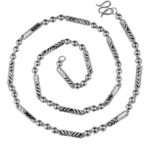 Silver necklace, 999 silver Men beads silver chain Han edition fashion tide personality without pendant lettering accessories