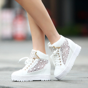 Qi love the new 2014 increased bud in the spring/summer shoes and thick bottom screen hollow yarn high women's shoes shoes