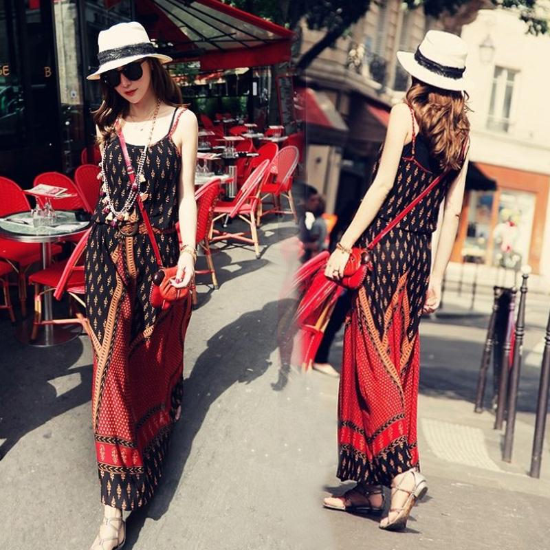 波西米亚长裙沙滩裙仙泰国海边度假吊带民族风大码棉绸连衣裙女夏