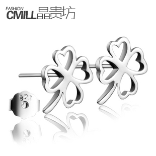 Place your crystal sterling silver stud earrings 925 sterling silver earrings female Lucky Clover silver jewelry