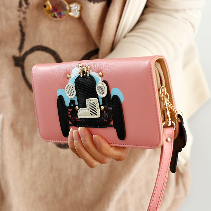 ZIP большой кошелек большой zip вокруг бумажник Корейский мультфильм Рука запястья сотовый телефон мешок моды бумажник счета поймал волну