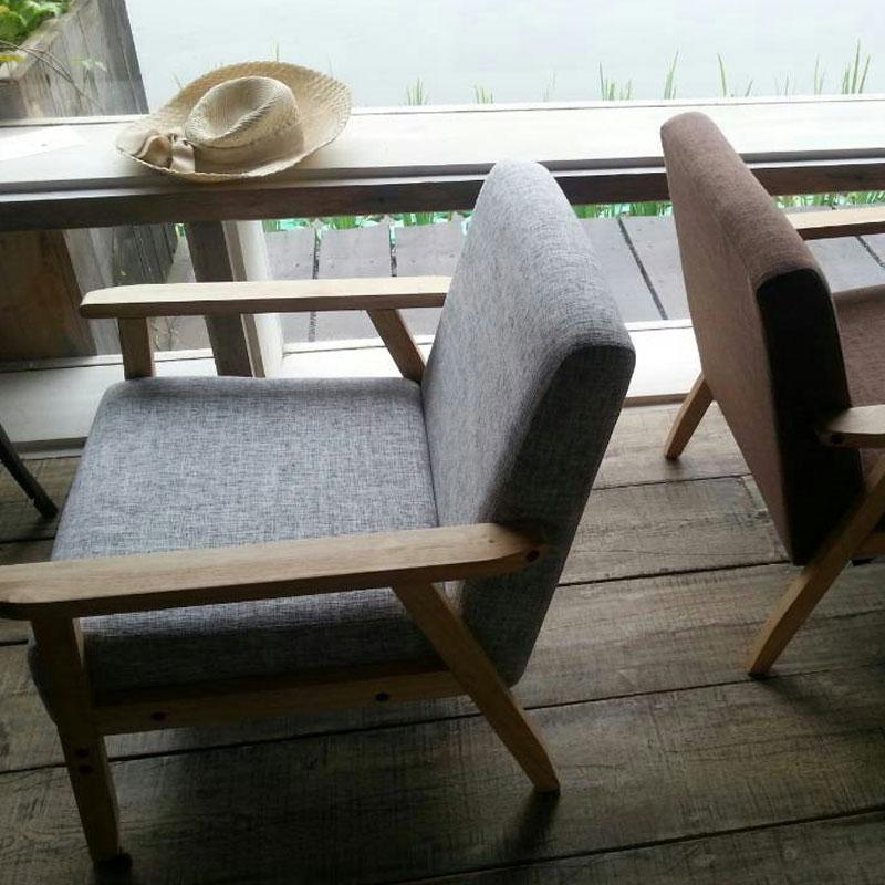 佳为家北欧简约日式实木单人双人布艺沙发咖啡厅小户型客厅组合