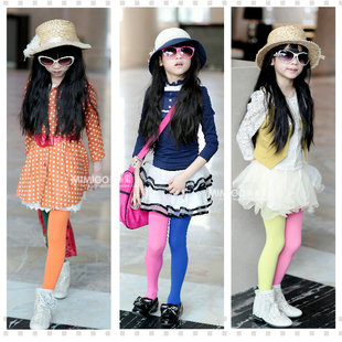 Clearance Korean children Leggings girls velvet backing color pantyhose dance socks socks socks AB