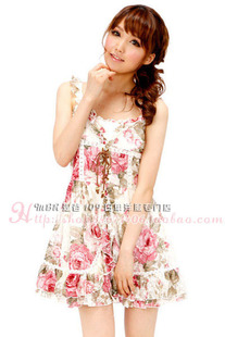 1286 Ribenyuandan liz lisa chest straps large flowers lace dress Price 179