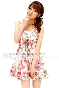 1286 日本原单liz lisa大花朵胸前绑带蕾丝连衣裙 原价179