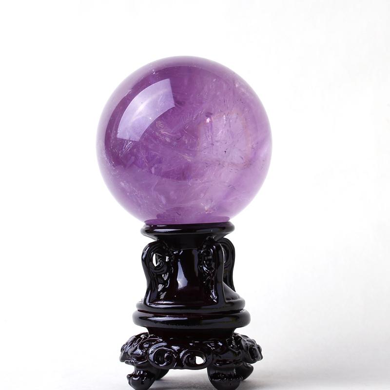魅晶天然紫水晶球摆件紫晶球风水摆件乌拉圭水晶球原石打磨紫晶球