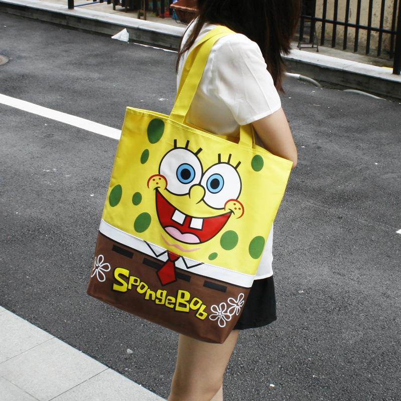 特价 大容量海绵宝宝可爱卡通拉链单肩帆布包手提环保购物袋/女包