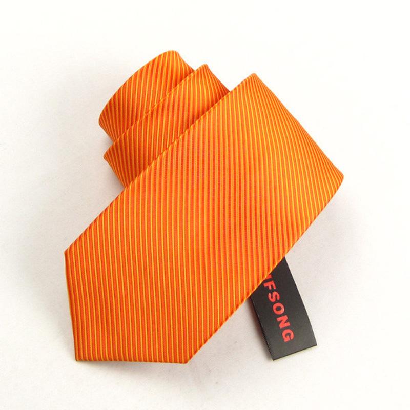 IFSONG 男士桔黄领带男正装商务 橘黄色新郎结婚橙色职业团体包邮