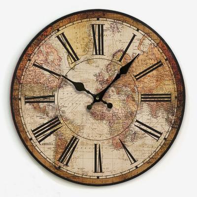 美式乡村田园复古挂钟 客厅时尚创意个性钟表 世界地图款新品上市