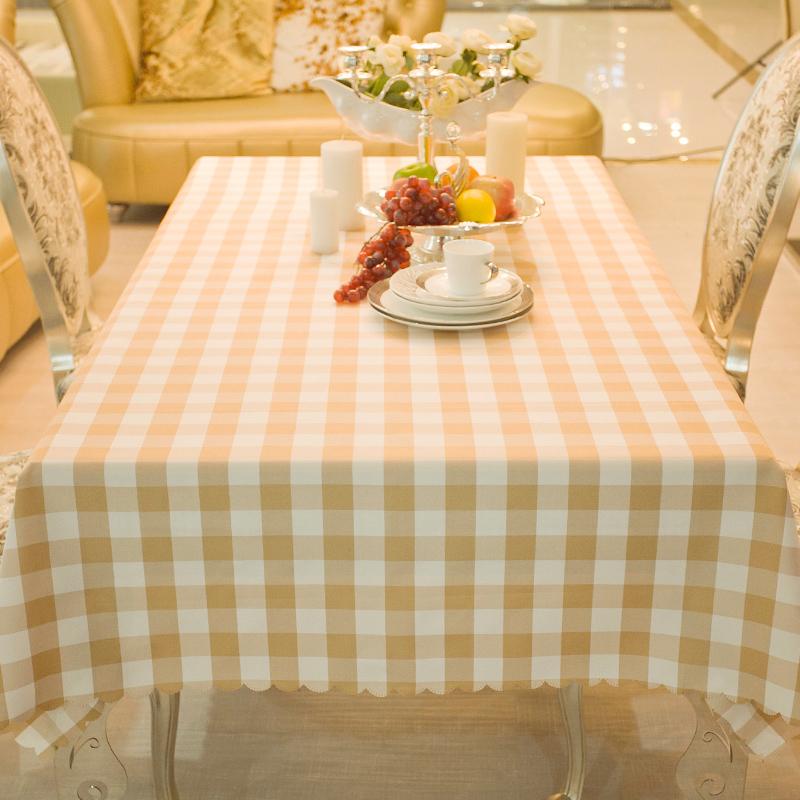 饭店酒店餐厅茶几桌布长台布定做化纤格子桌布布艺餐桌布咖啡色