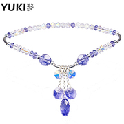 YUKI anklets ladies 925 Silver Jewelry Silver Austria DIY Amethyst lover women love gifts