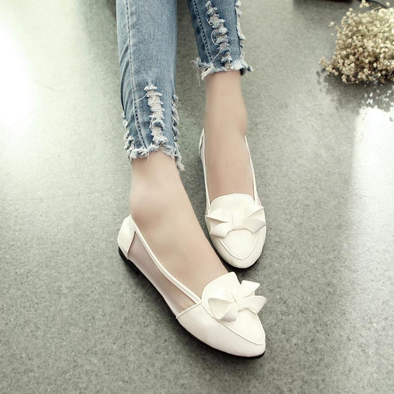 2015 году летняя мелкой обувь новой корейской версии острый конец лета обувь плоские туфли женщин сетки обувь сандалии