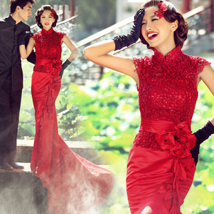 Red lace wedding dress the bride married cheongsam toast clothing long section fishtail trailing 2015 new spring