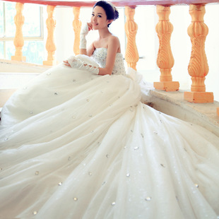 Door bride wedding dress new 2015 Korean version of sweet princess tutu Bra trailing wedding 740