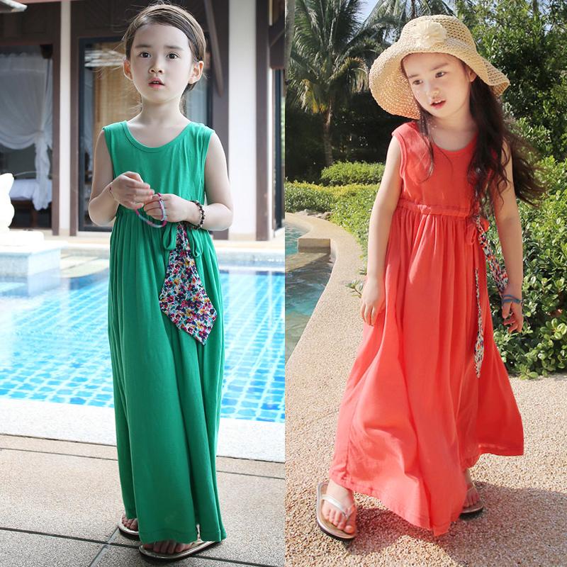 2015 году бренд детей износ девочек хлопка жилет платье Корейский мать и дочь Лонг Бич весело платье xiaboximiya