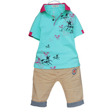 The new boy's summer 2015 Boy's summer han edition tide leisure suit children's wear cotton T-shirt suit A11