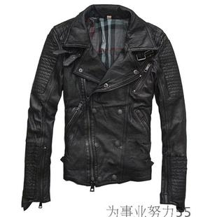 Spring sheep skin leather men s oblique zipper large lapel leather motorcycle clothing jacket leather jacket rock