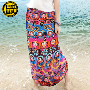 Summer beach dress bohemian skirts printing national wind autumn dress hip skirt step skirt beach skirt wrap skirt