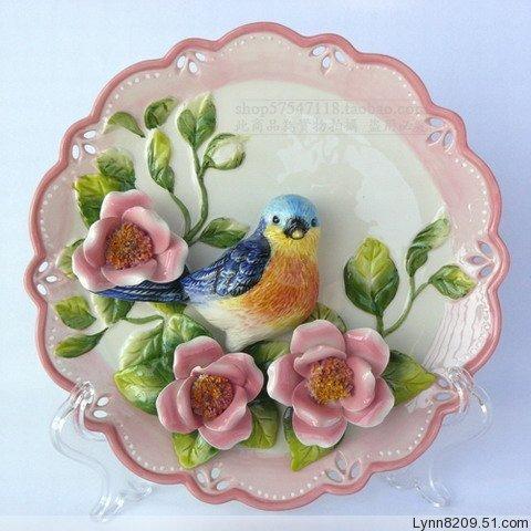 Фанг ya европейском стиле загородного дома Аксессуары для ручной росписью фарфора стены пластины Синяя птица и розы украшения подарок декоративная рамка