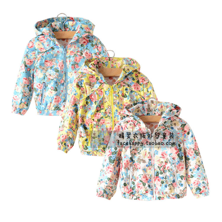 2015 новых KENZ * элитного детей на молнии с капюшоном девочек свитер хлопка, окраска цветка куртки пальто