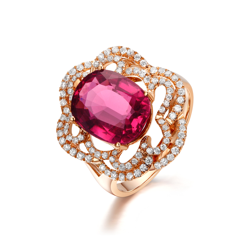 Saint Debao 18 K gold inlaid with natural red tourmaline diamond ring, tourmaline 30 points diamond ring