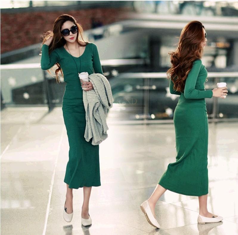 Осенью 2015 года новые длинные платья, дамы трикотажные длинный рукав темперамент базы юбка бедра плотно пригнанный длинное платье