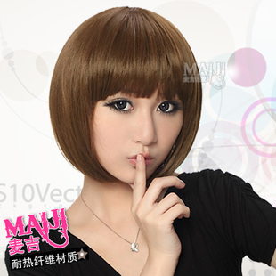 The new wave head girls wig short straight hair harsh harsh fluffy matte bobo head hair by age students head