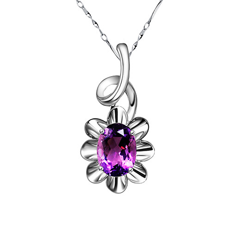 1 carat natural olivine Necklace women Amethyst colorful gem Pendant Sterling Silver Jewelry birthday gift