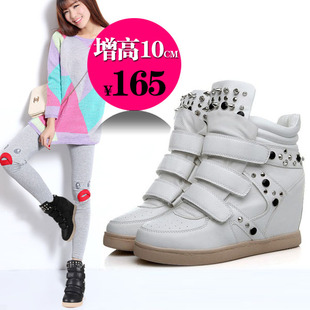 Women's Shoes 8cm higher European leg thick crust muffin Sports shoes casual shoes high tide to help Velcro inside Spring 2014