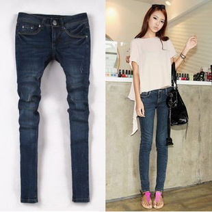Winter new Korean stretch thin frayed jeans female skinny pants feet pencil pants trousers Korean version of 819