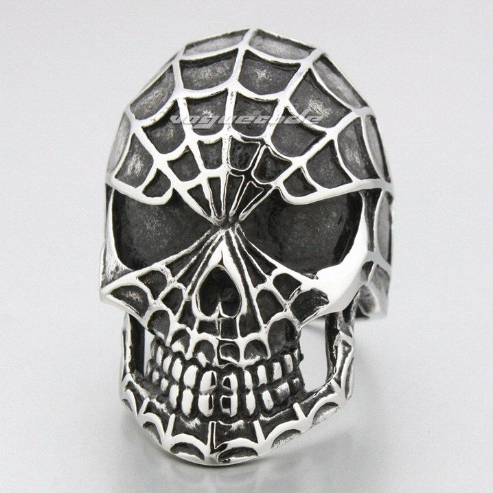 Rock fashion mens 316L stainless steel ring cool spider man skull titanium steel ring mens steel jewelry