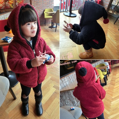 Cashmere coat girls cardigan new hooded round neck real photo casual solid color Korean autumn and winter sweater thickening